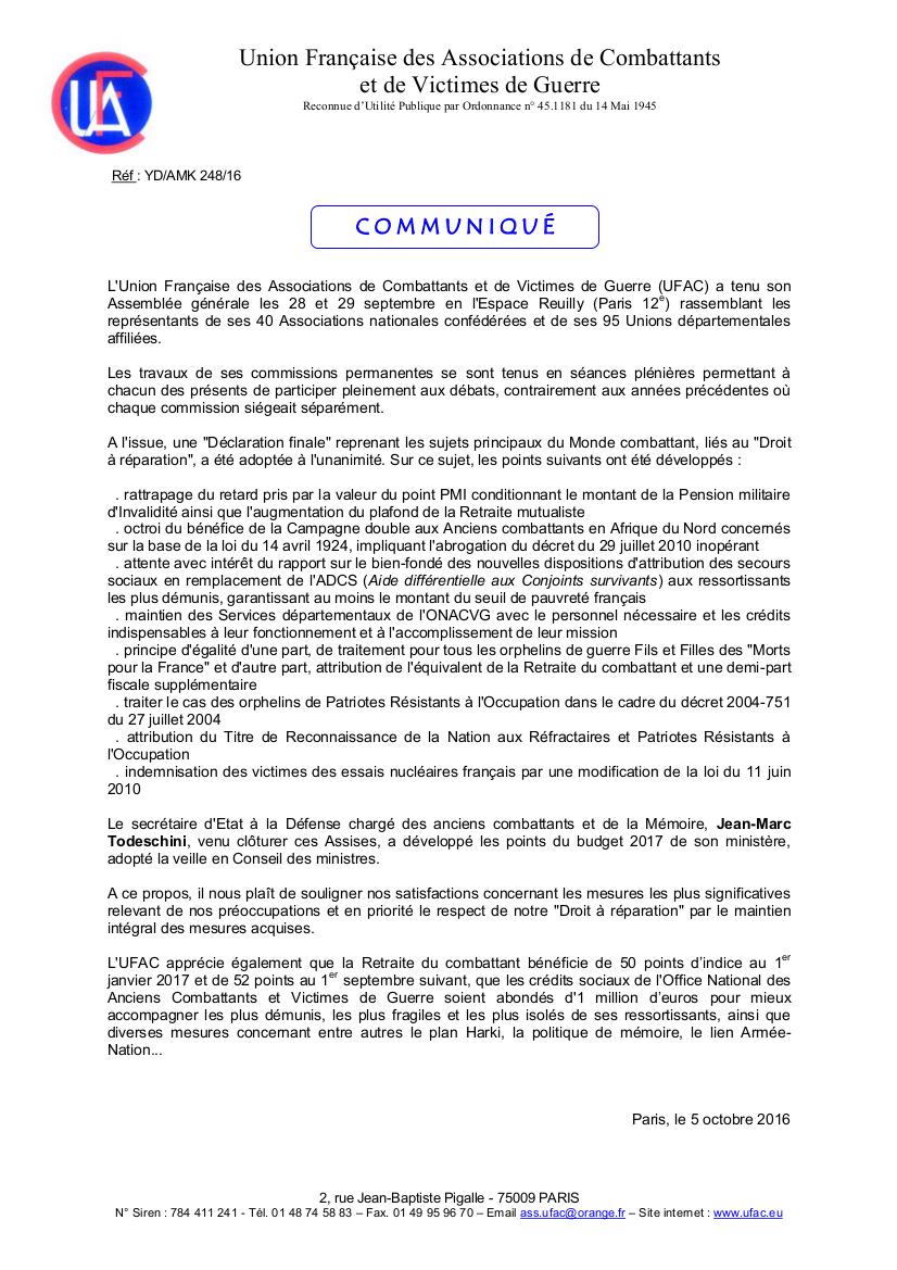 Communique UFAC suite AG 2016