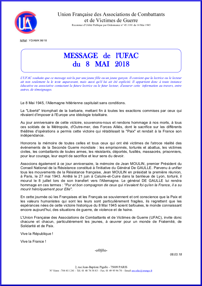 Message 8 mai 2018