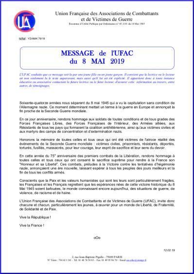 Message du 8 mai 2019