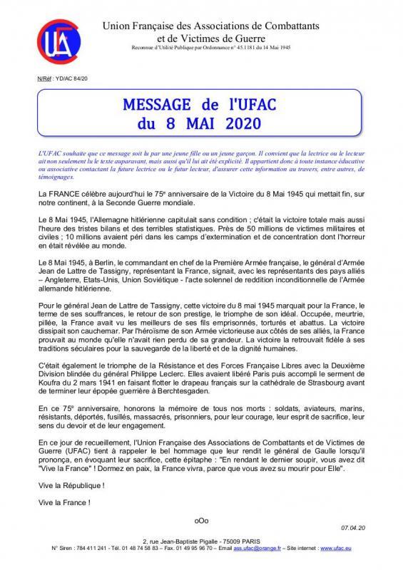 Message du 8 mai 2020