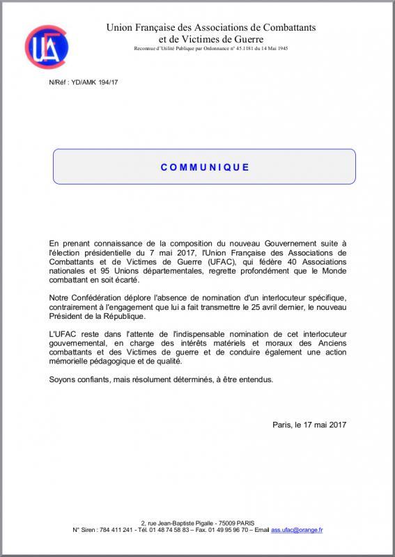 Ufac communique 17 05 18