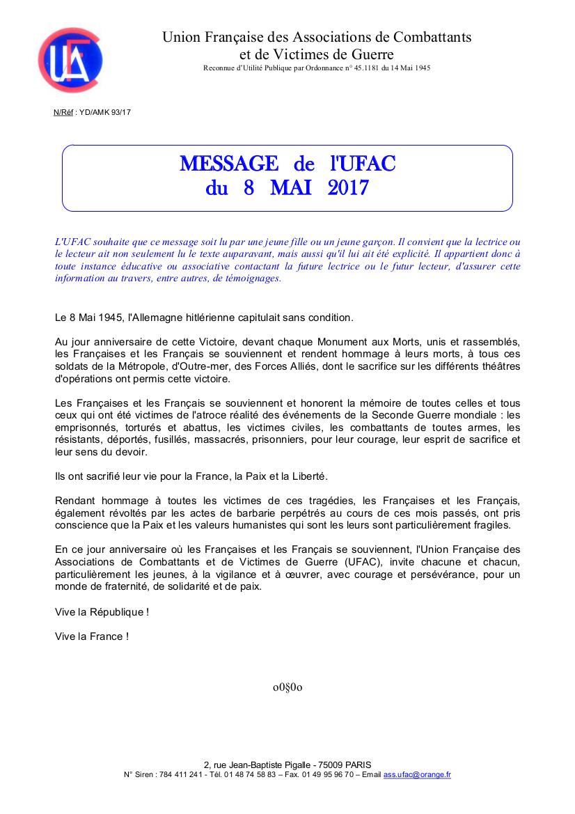 Ufac message du 8 mai 2017